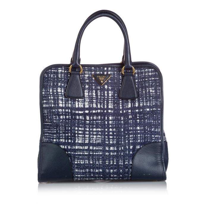 Image for Vintage Prada Tweed Satchel Blue