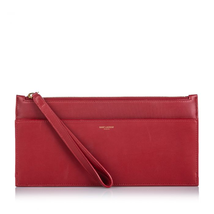 Image for Vintage YSL Leather Clutch Bag Red