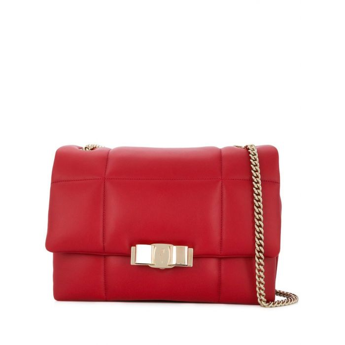 Image for Vintage Ferragamo Quilted Leather Chain Shoulder Bag Red