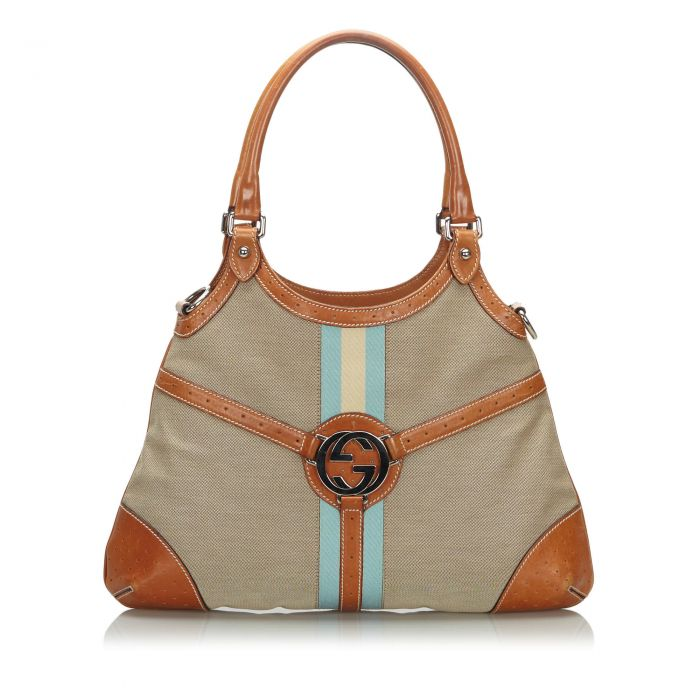 Image for Vintage Gucci Canvas Reins Hobo Bag Brown