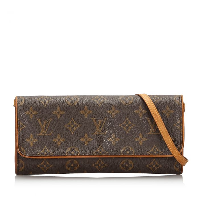 Image for Vintage Louis Vuitton Monogram Pochette Twin GM Brown