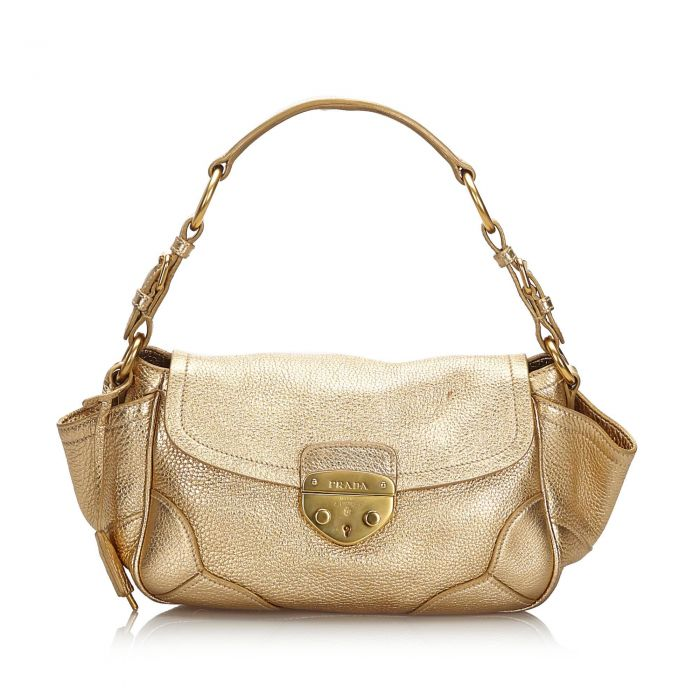Image for Vintage Prada Vitello Daino Shoulder Bag Gold