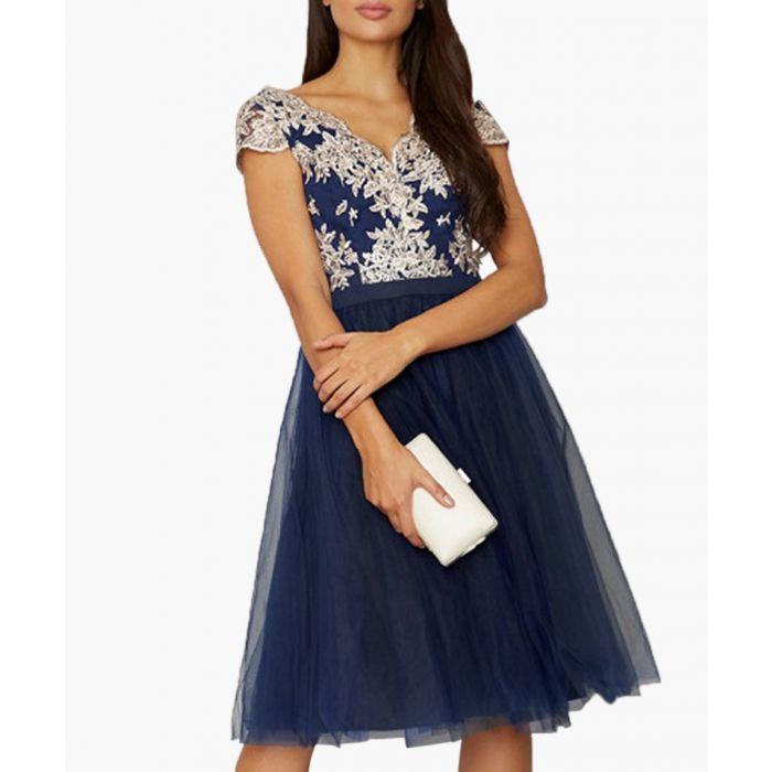 Image for Joan navy floral dress