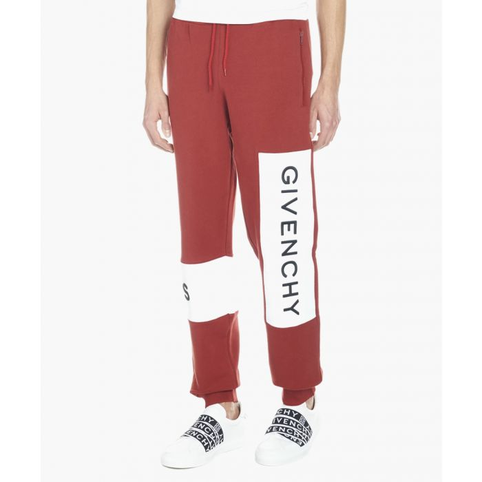 Image for Red pure cotton logo joggers
