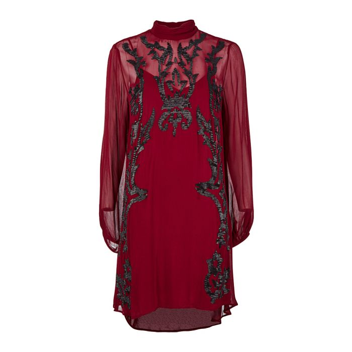 Image for Wine brocade detail semi sheer dress