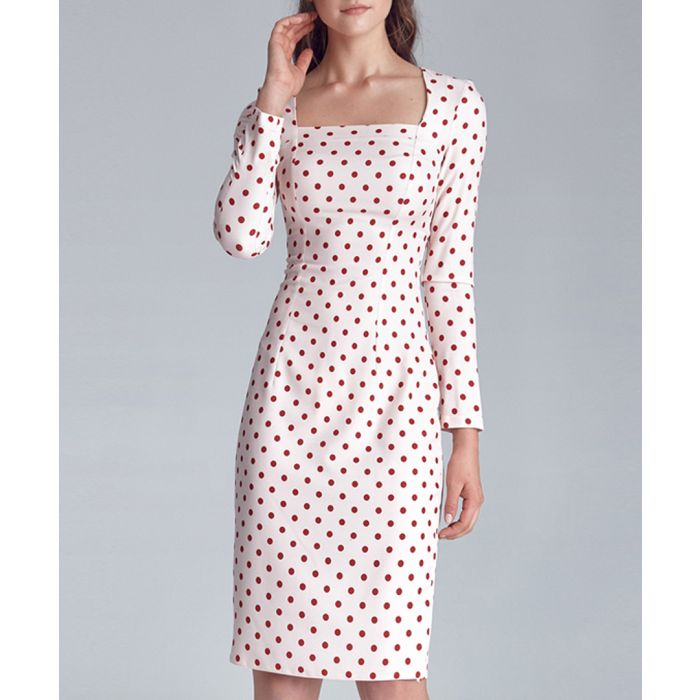 Image for Cream polka dot bodycon dress
