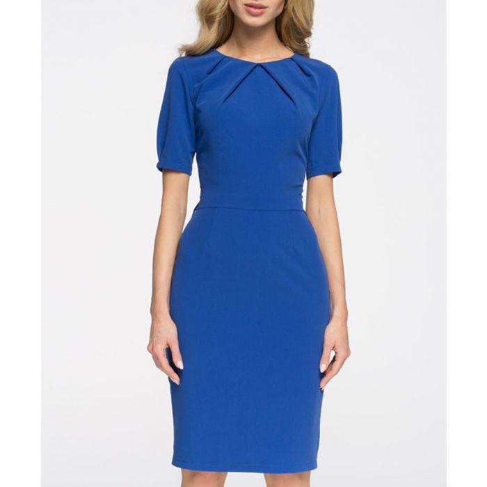 Image for Blue short sleeve pencil dress
