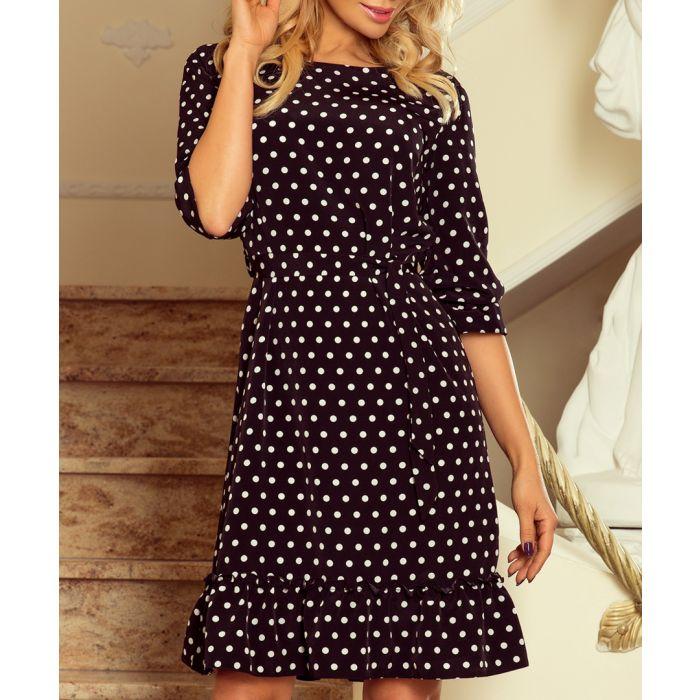 Image for Black polka dot ruffle hem dress