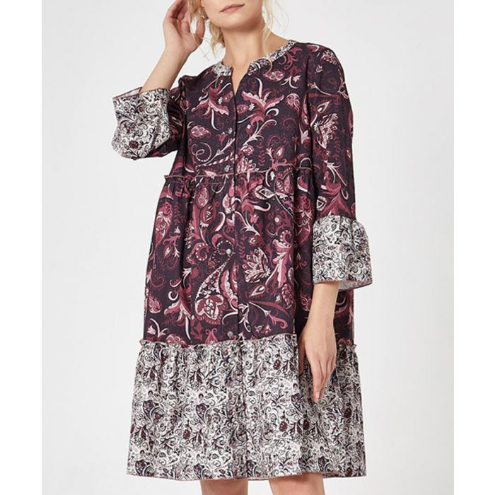 Image for Multi printed button-up tiered dress