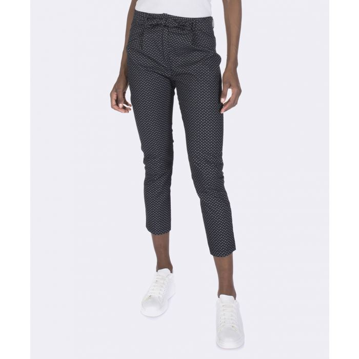 Image for Black pure cotton crop trousers