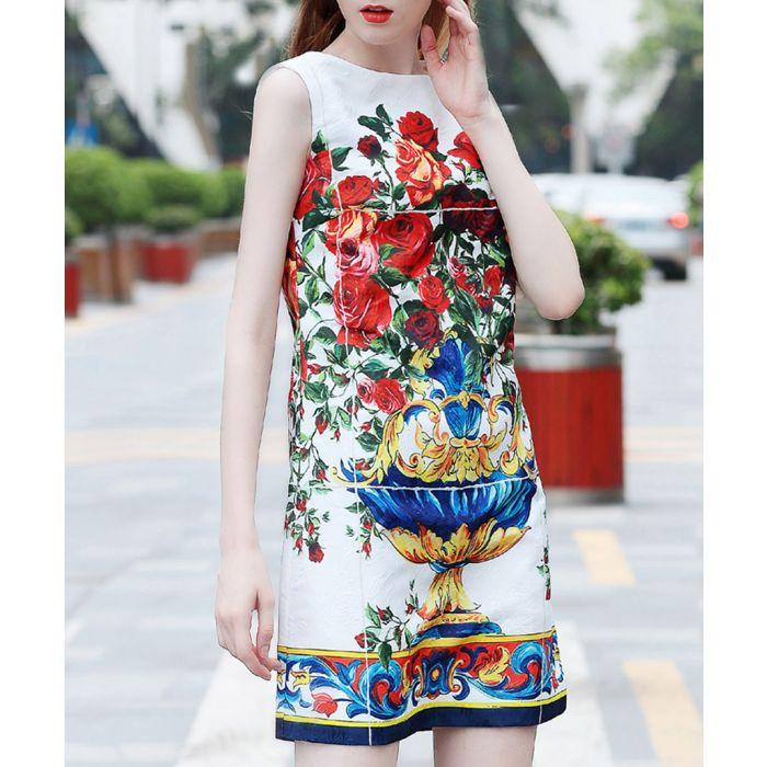 Image for White cotton blend mural dress