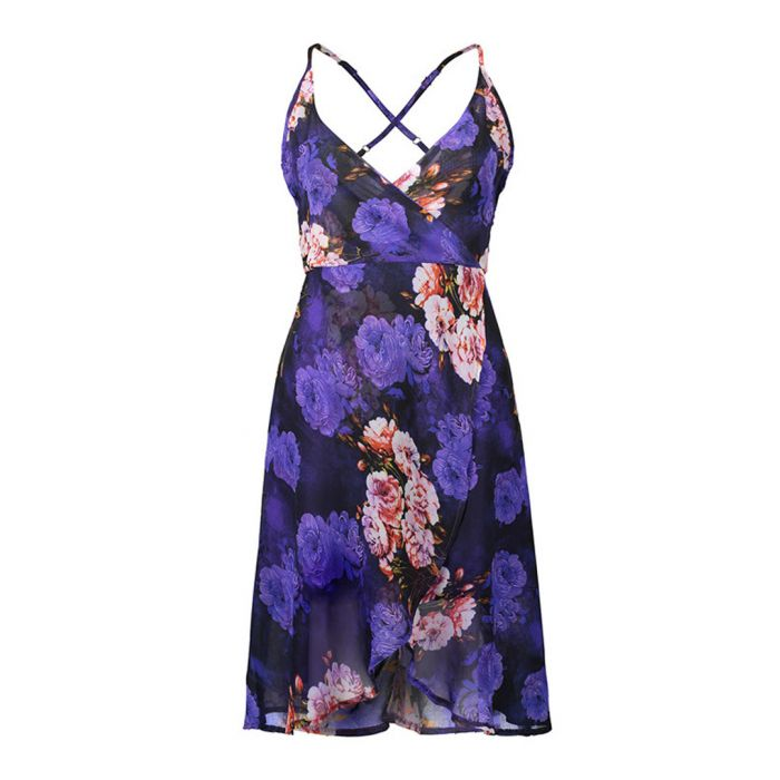 Image for Purple floral print strappy wrap dress