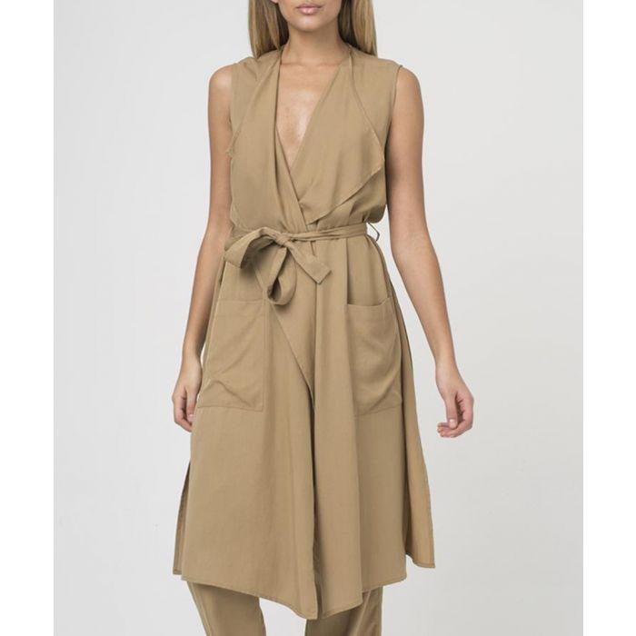 Image for Camel cupro sleeveless tie waist jacket