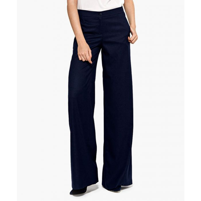 Image for Navy blue wide leg formal trousers