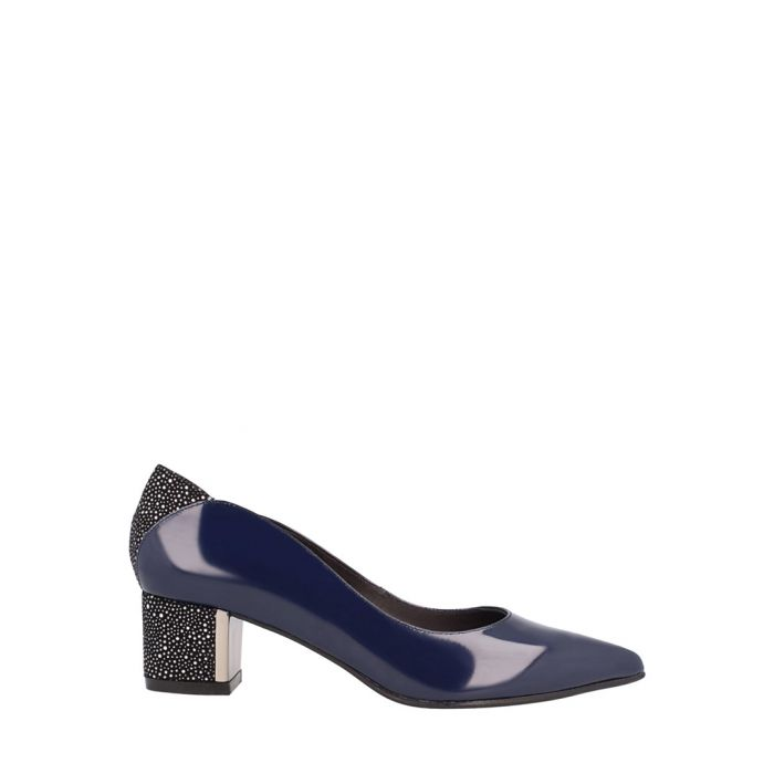 Image for Navy leather block heels