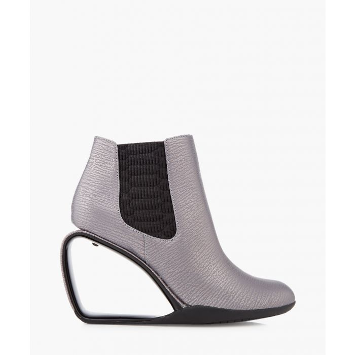 Image for Step Mobius gunmetal leather ankle boots