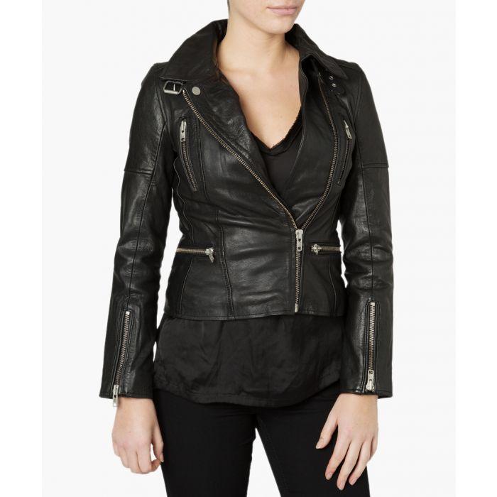 Image for Nobel black leather biker jacket