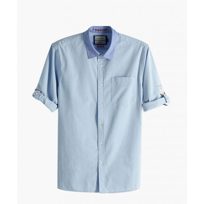 Image for Blue pure cotton short sleeve shirt