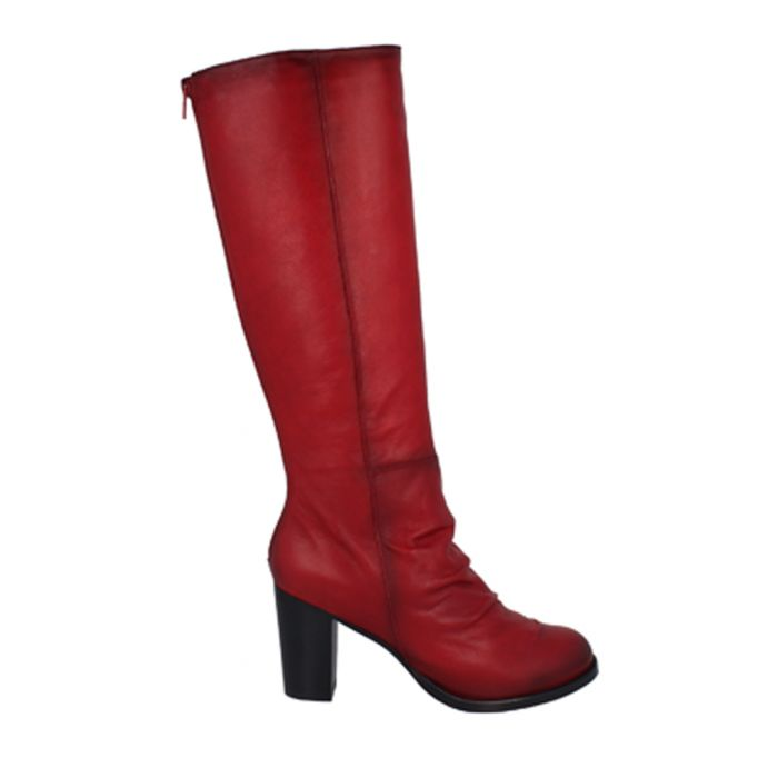 Image for Red leather block heel boots