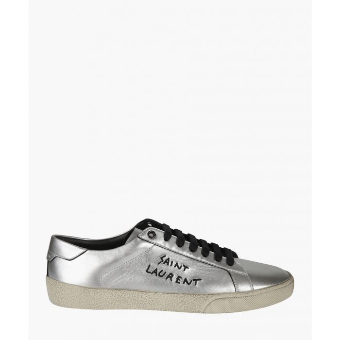 Image for Court Classic SL/06 silver-tone metallic leather trainers