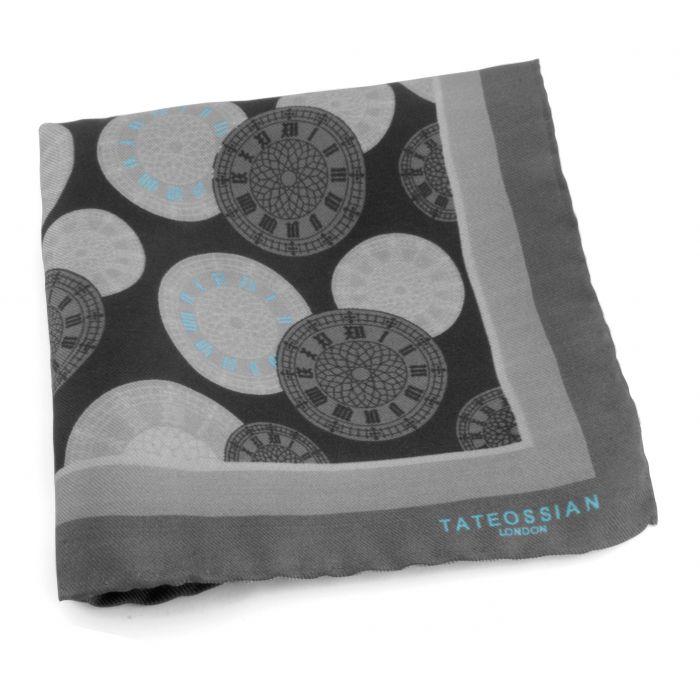 Image for Grey Big Ben Silk Pocket Square Handkerchief