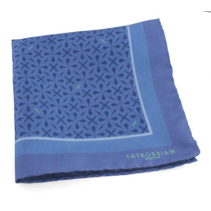 Image for Blue Armenian Silk Pocket Square Handkerchief