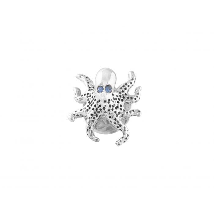 Image for Rhodium Swarovski Blue Pin Animal Octopus