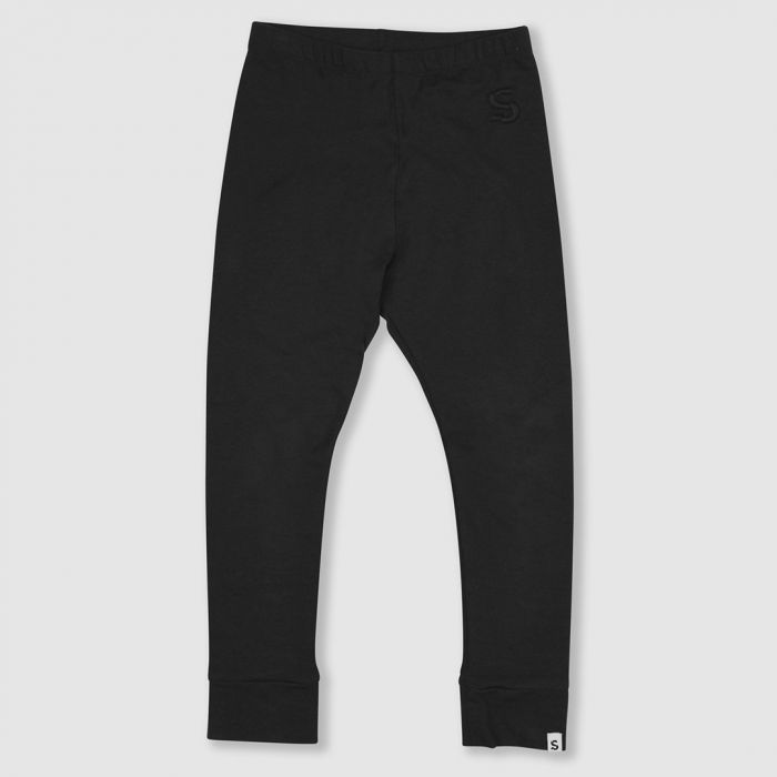 Image for Black ribbed cotton leggings