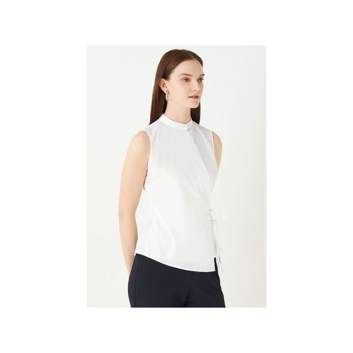 Image for Angelica Poplin Wrap Top - White