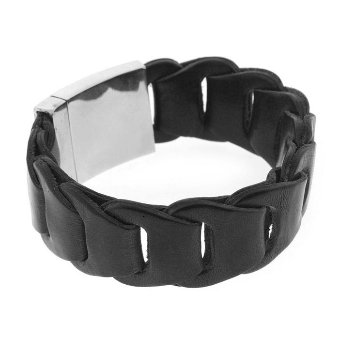 Image for Silver Leather Black Single wrap 22cm Click
