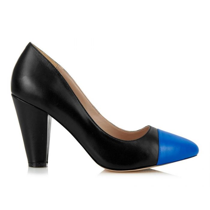 Image for Beaulieu black and blue cap-toe heels