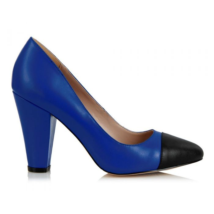 Image for Beaulieu blue and black cap-toe heels
