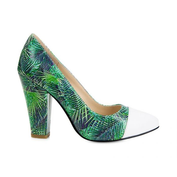 Image for Beaulieu green leather printed block heels