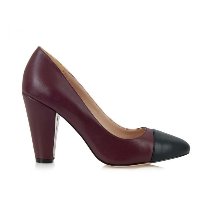 Image for Beaulieu plum leather cap-toe heels