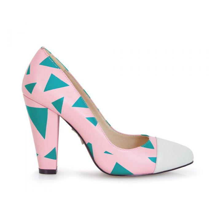 Image for Beaulieu multi-coloured leather geometric printed heels