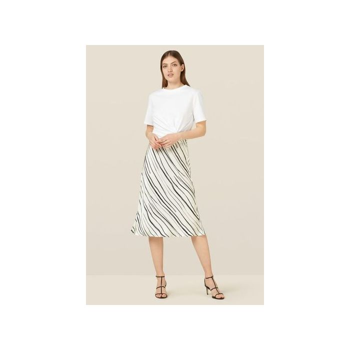 Image for Blake Monochrome Striped Satin Skirt - multicolour