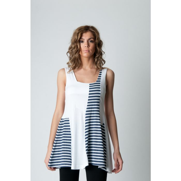 Image for Sleeveless Stripe Detail Tunic Navy