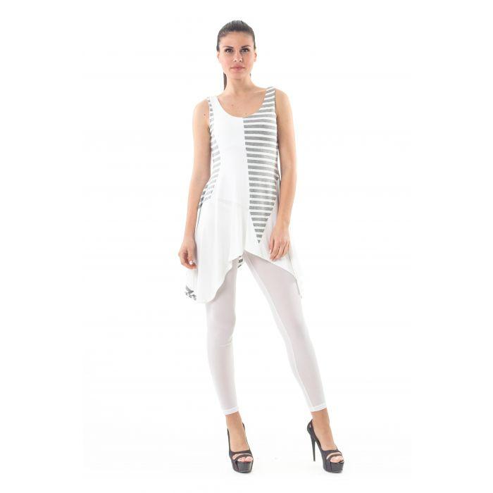 Image for Asymmetrical Stripe Detail Tunic grey