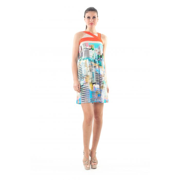 Image for A Line Strap Detail Print Dress