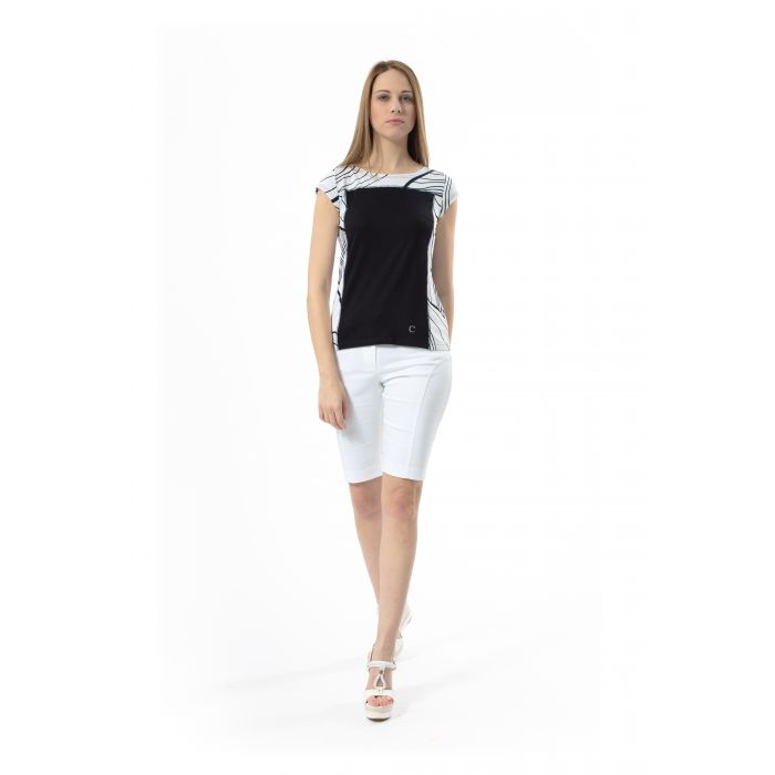 Image for Two-Tone Cap Sleeve Print Top