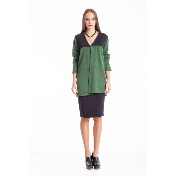 Image for Wool Blend Block Colour Cardigan green