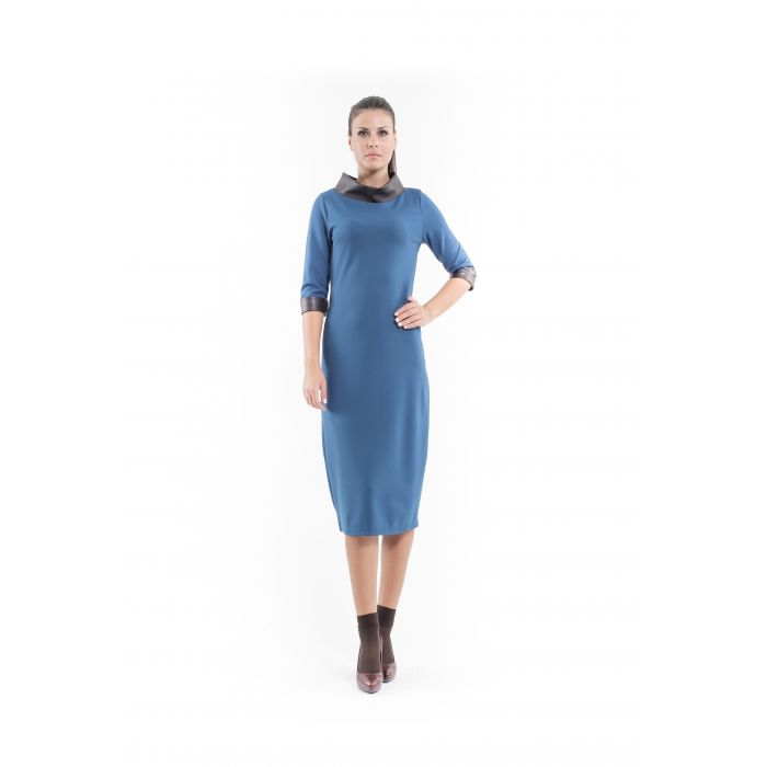 Image for Faux Leather Detail Shift Dress petrol.