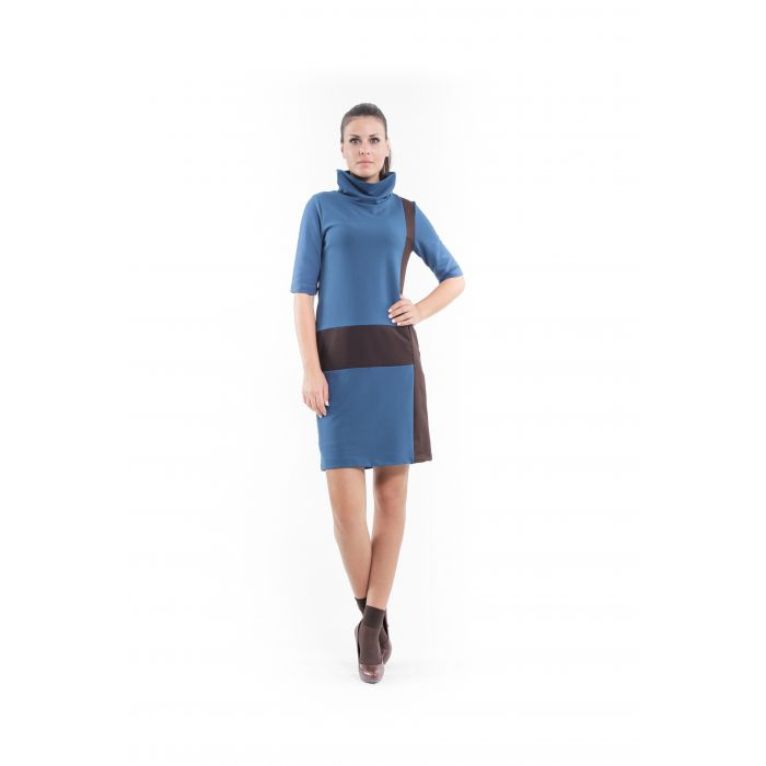 Image for Panel Detail Polo Neck Dress