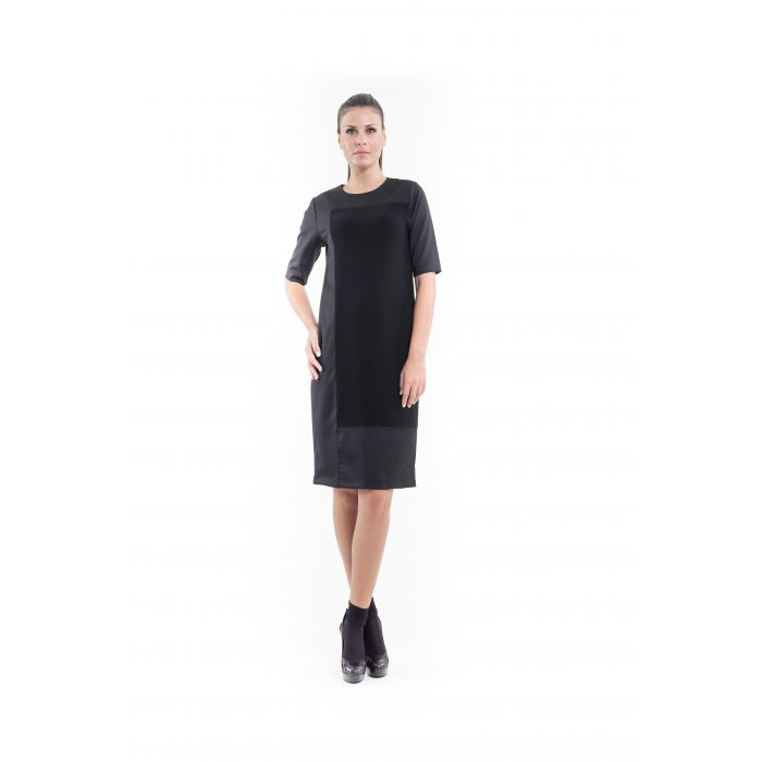 Image for Contrast Fabric Shift Dress black