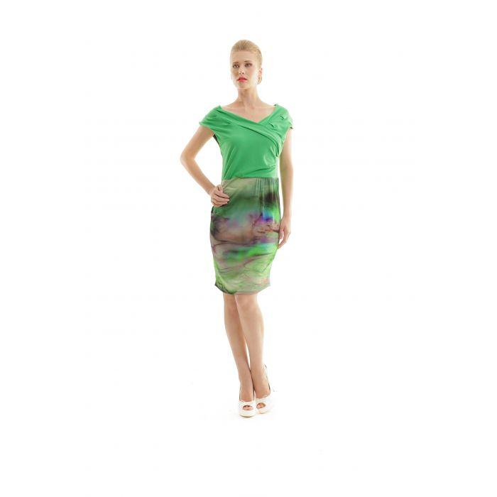 Image for Sleeveless Faux Wrap Print Dress