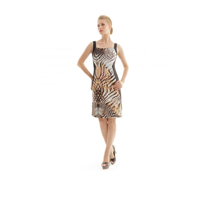 Image for Panel Detail Animal Print Dress