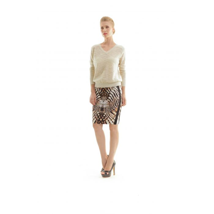 Image for Animal Print Fitted Skirt