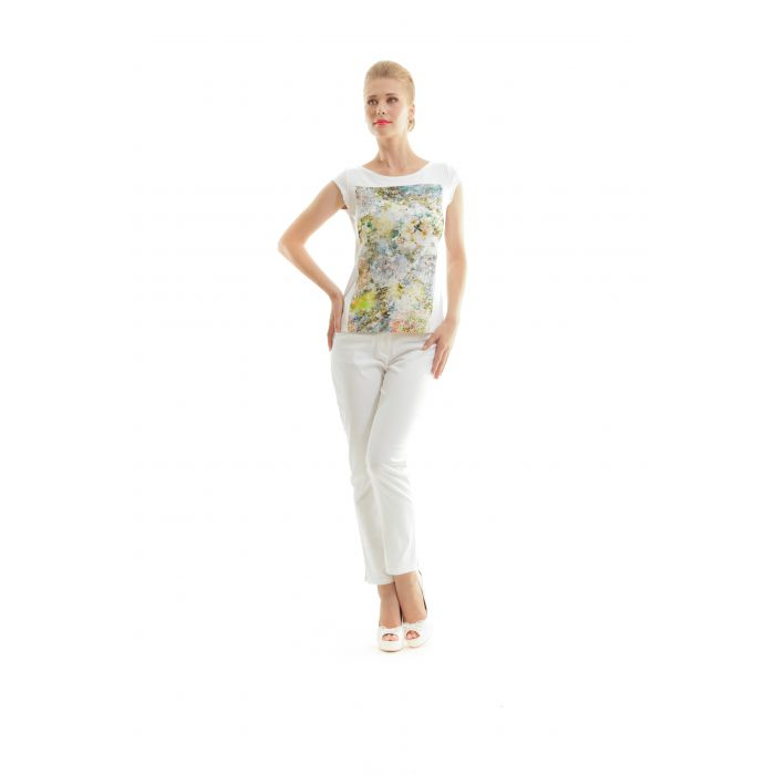 Image for Floral Print Boat Neck Top
