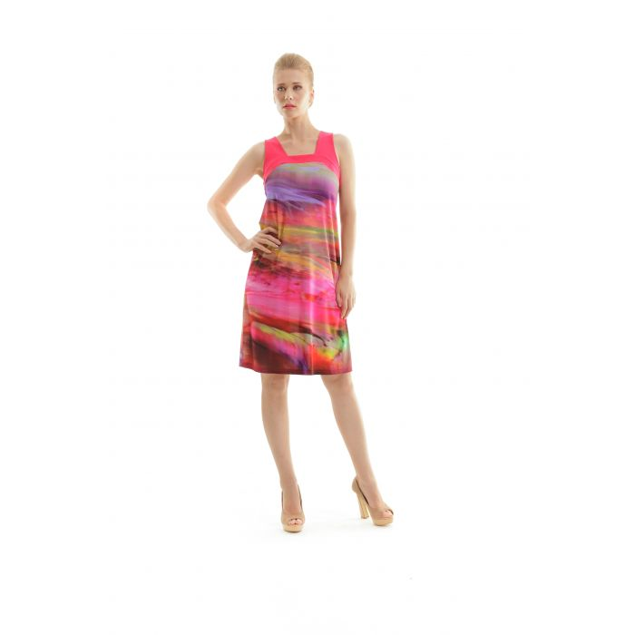 Image for Print Dress with Square Neckline