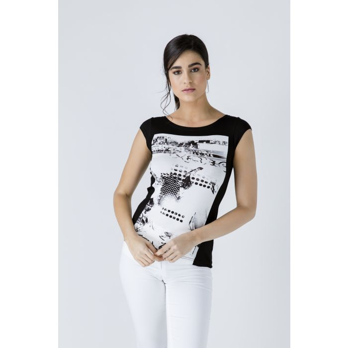 Image for Black Print Detail Cap Sleeve Top
